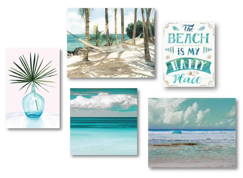 'Tropical Tranquility' 5 Piece Gallery Wall Set on Canvas