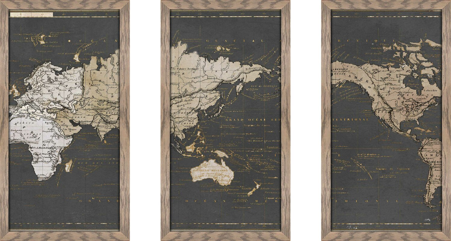 'World Map in Gold and Gray' Graphic Art Print Multi-Piece Image