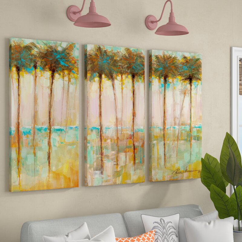 'Palms at Dusk' Acrylic Painting Print Multi-Piece Image on Gallery Wrapped Canvas