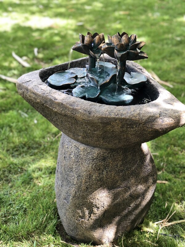 Concrete Lotus Fountain with Light
