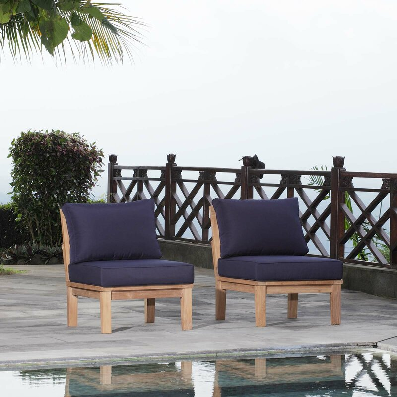 Elaina Outdoor Teak Patio Chair with Cushions (Set of 2)