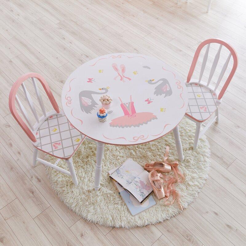 Swan Lake Kids 3 Piece Writing Table and Chair Set