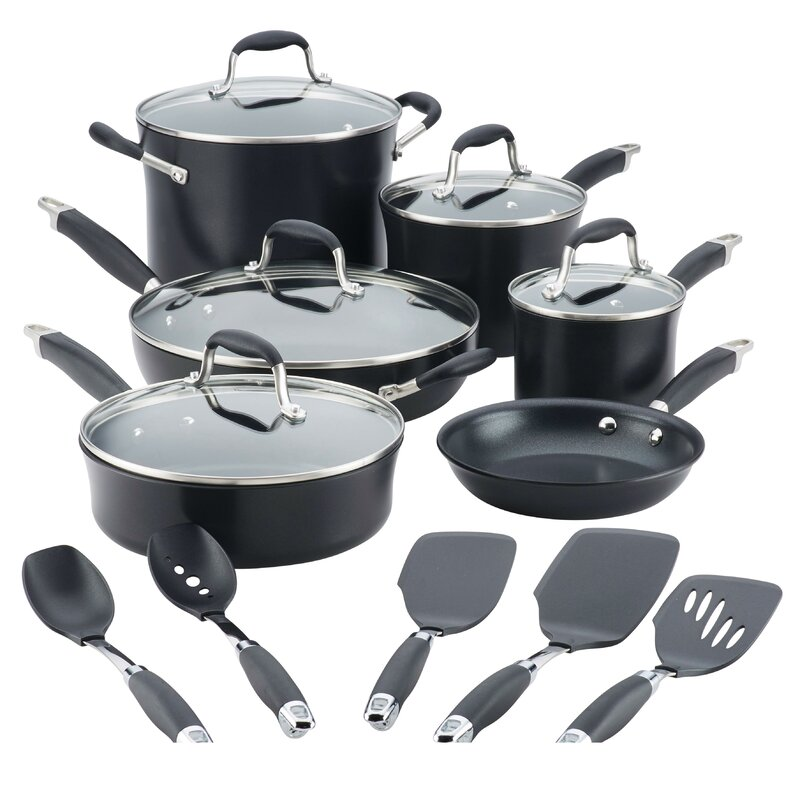 Advanced Onyx Hard-Anodized 11 Piece Non-stick Cookware Set