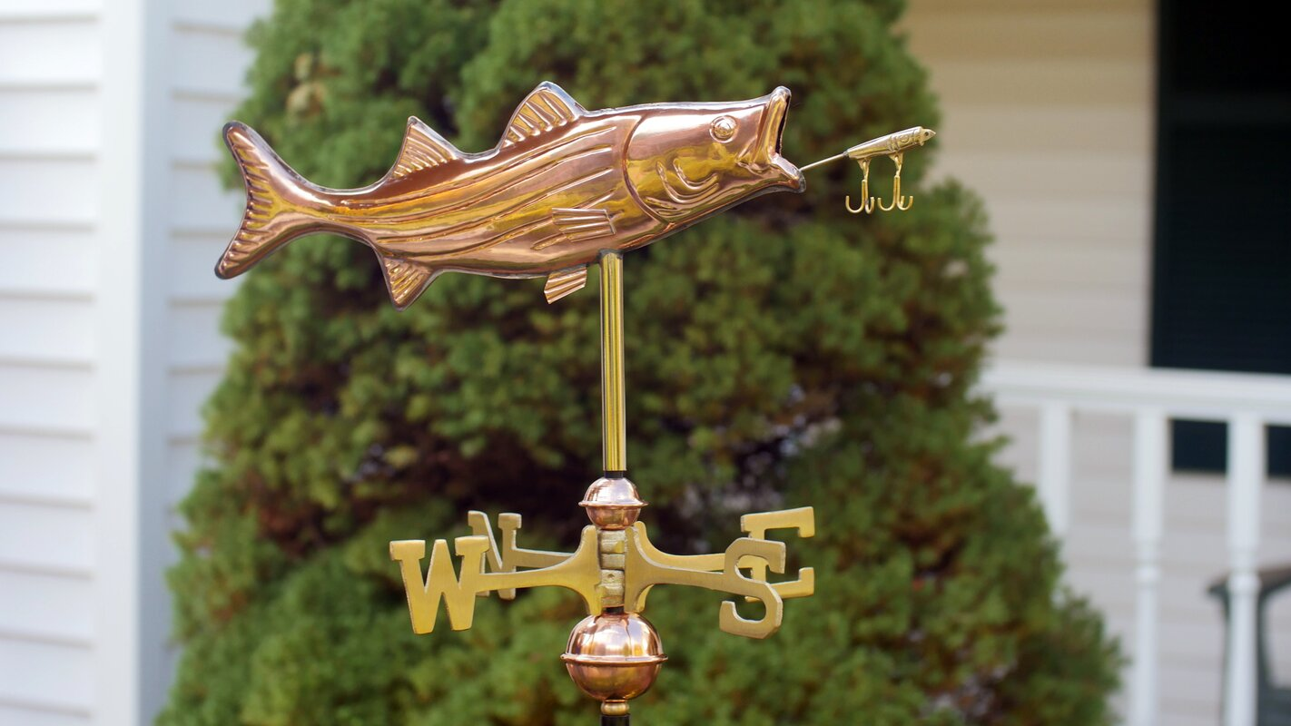 Cottage Bass with Lure Weathervane