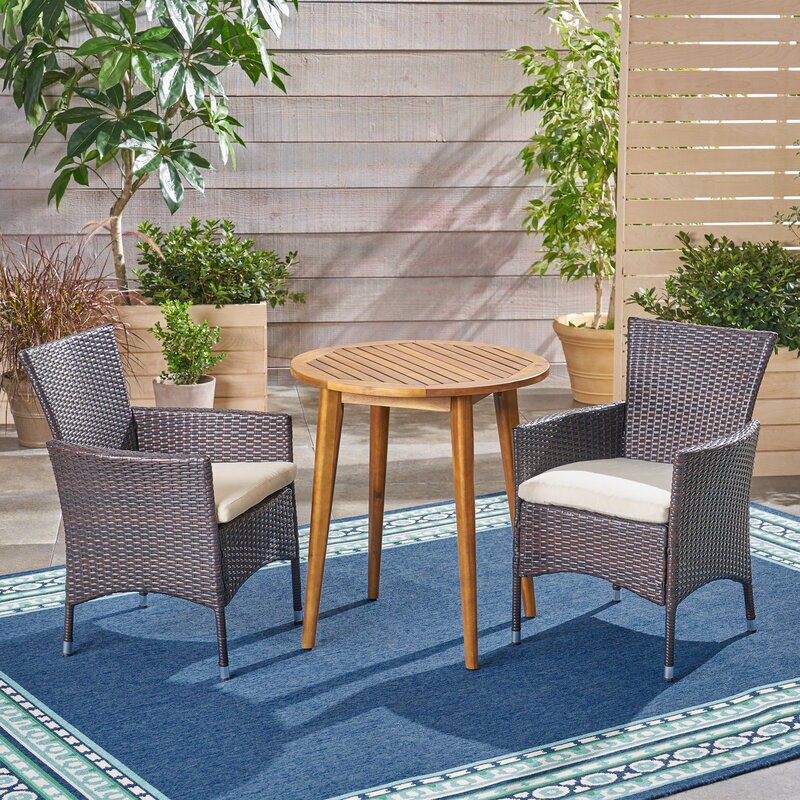 Bolebroke Outdoor 3 Piece Bistro Set with Cushions
