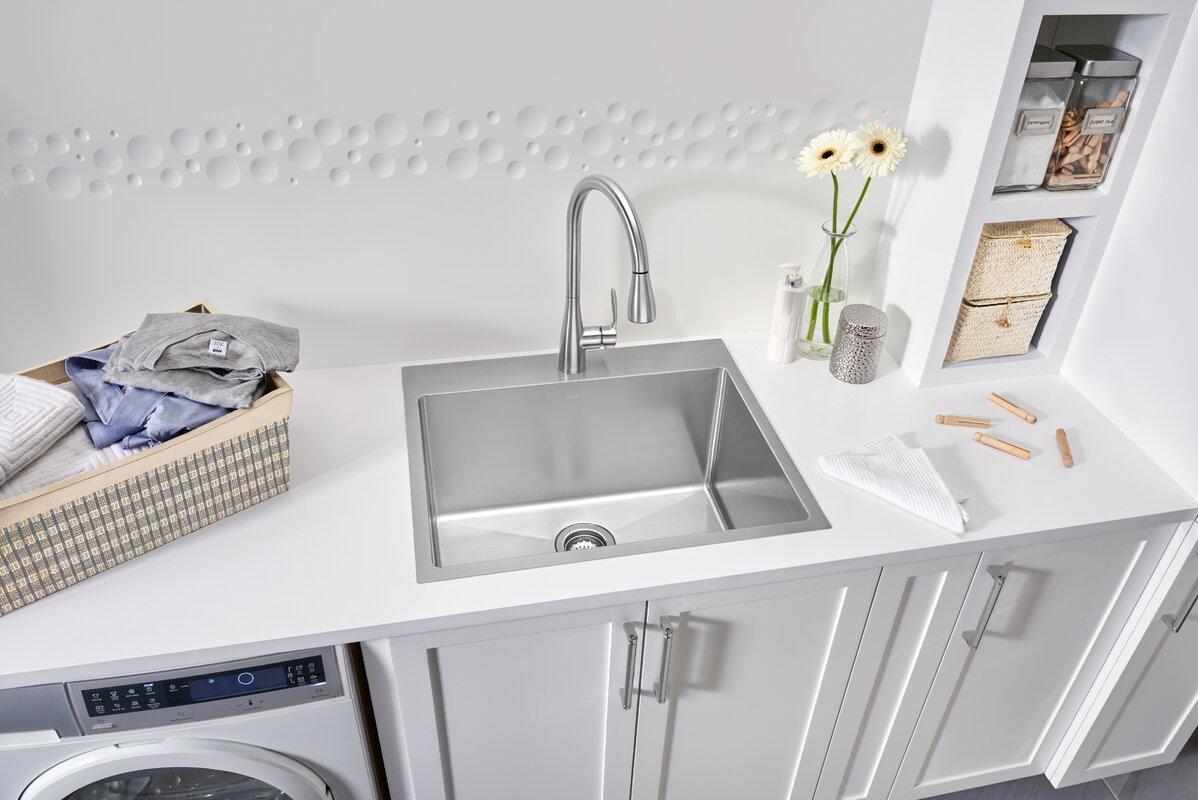 """Quatrus R15 25"""" L X 22"""" W Dual Mount Laundry Sink"""