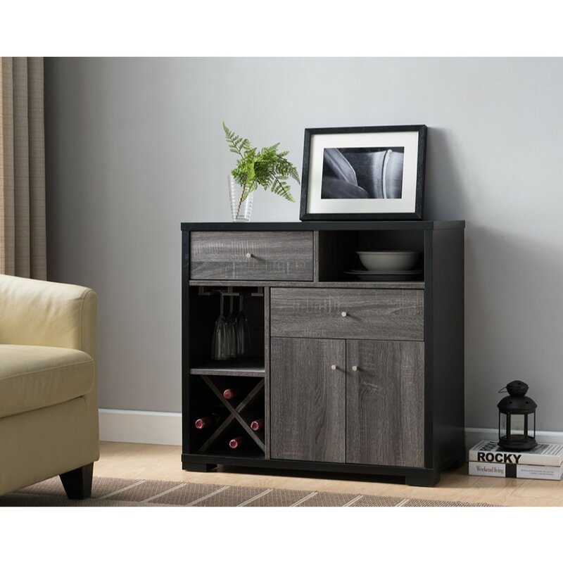 Angelica Dual-Tone Wooden Bar Cabinet
