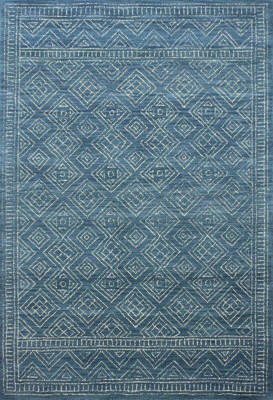 Kory Hand-Hooked Wool Azure Area Rug