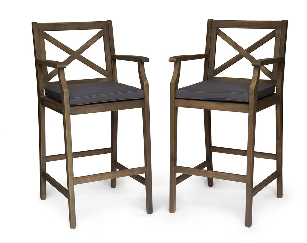 "Hudock 45.75"" Teak Patio Bar Stool with Cushion (Set of 2)"
