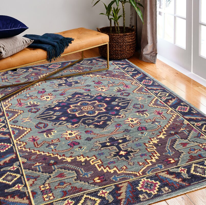 Kurtis Hand-Knotted Wool Teal Area Rug