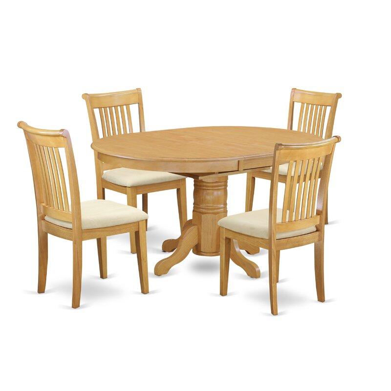Emmaline 5 Piece Extendable Breakfast Nook Solid Wood Dining Set