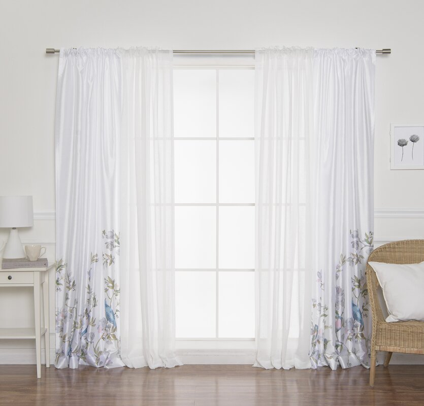 Shaffer Floral Semi-Sheer Rod Pocket Panel Pair (Set of 2)