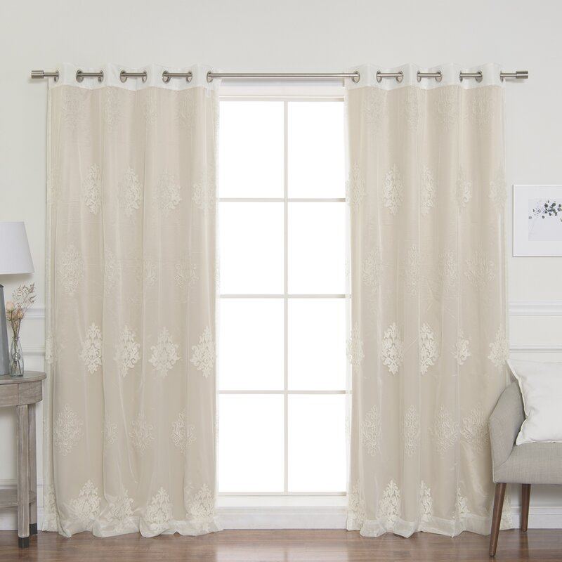 Shapiro Sheer Damask Blackout Thermal Grommet Panel Pair