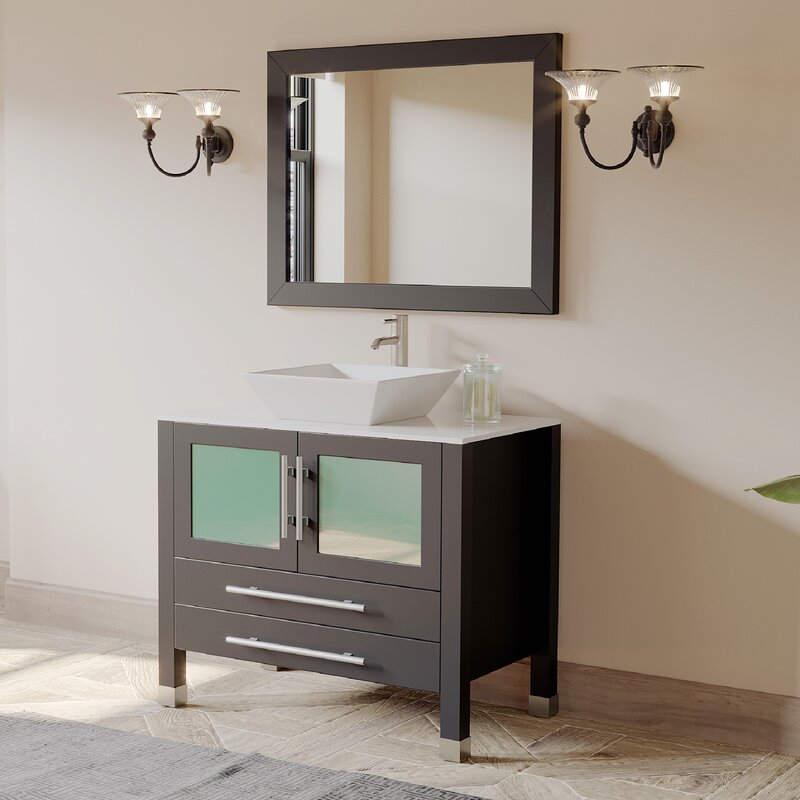 "Meserve Solid Wood and Porcelain Vessel 36"" Single Bathroom Vanity Set with Mirror"