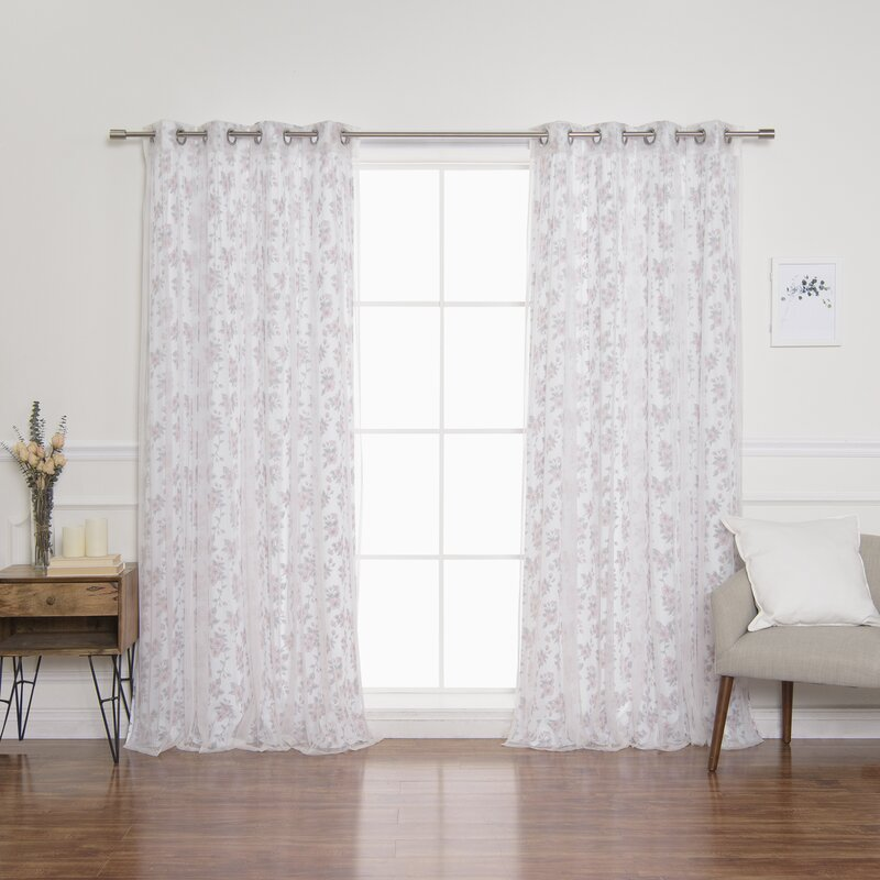 Carmona Hibiscus Blossom Semi-Sheer Grommet Curtain Panels