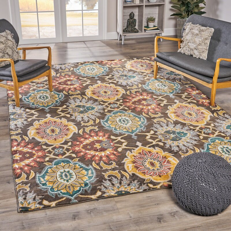 Mckim Bohemian Brown/Yellow Area Rug