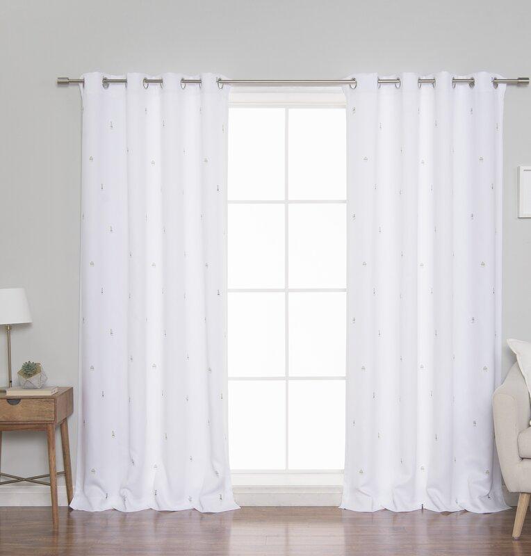 Allenhurst Cactus Semi-Sheer Grommet Curtain Panels (Set of 2)