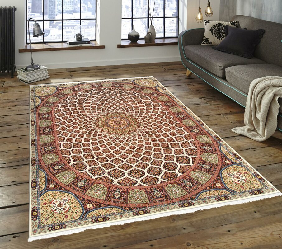 """One-of-a-Kind Tabriz Hand-Knotted 9'8"""" x 12'10"""" Silk/Wool Brown Area Rug"""