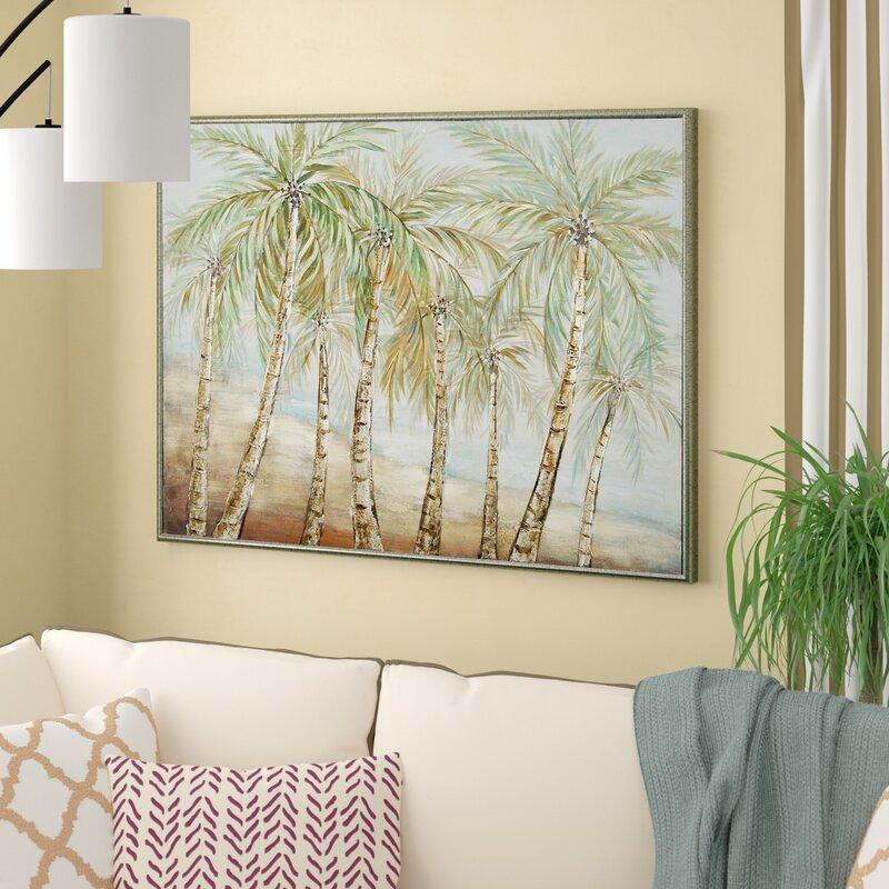 'Coastal Coconut Trees by the Beach' Framed Print on