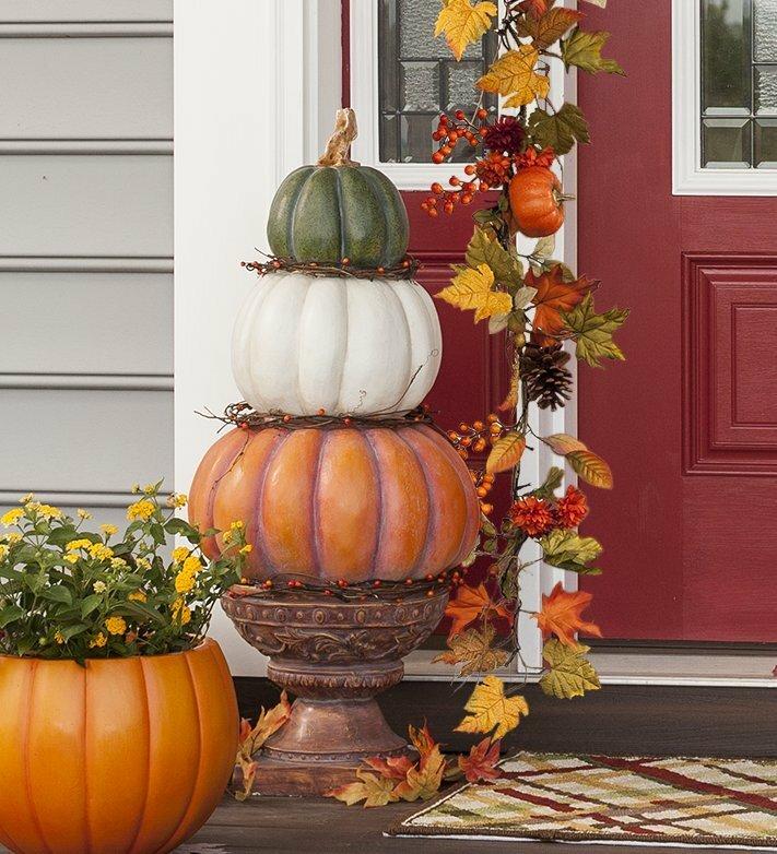 Pumpkin Stack Topiary  Figurine