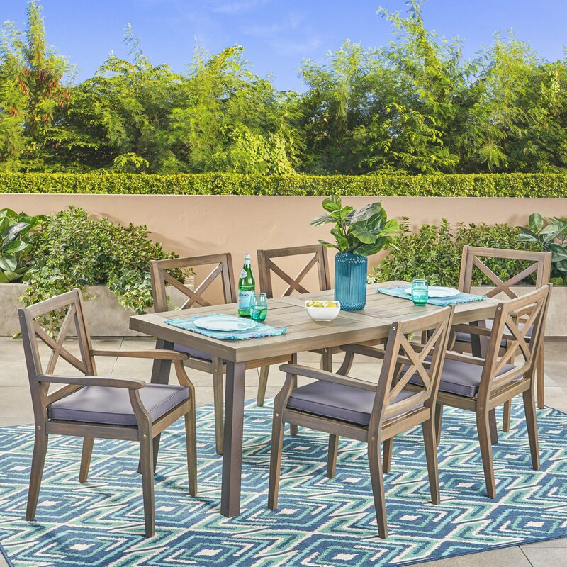 Slagelse Outdoor 7 Piece Dining Set with Cushions