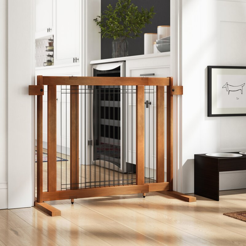 Apple Tall Freestanding Wood & Wire Pet Gate