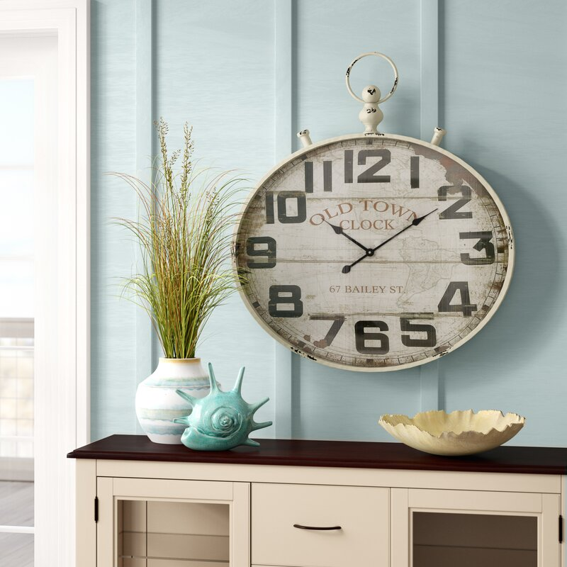 "Oversized 32"" Round Metal Wall Clock"