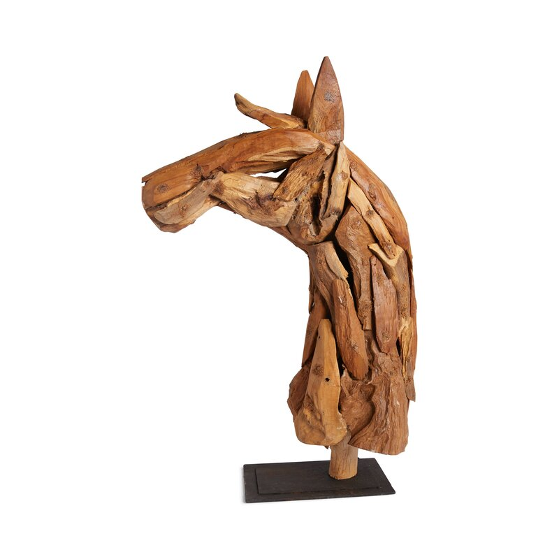 Natural Wood Horse Bust