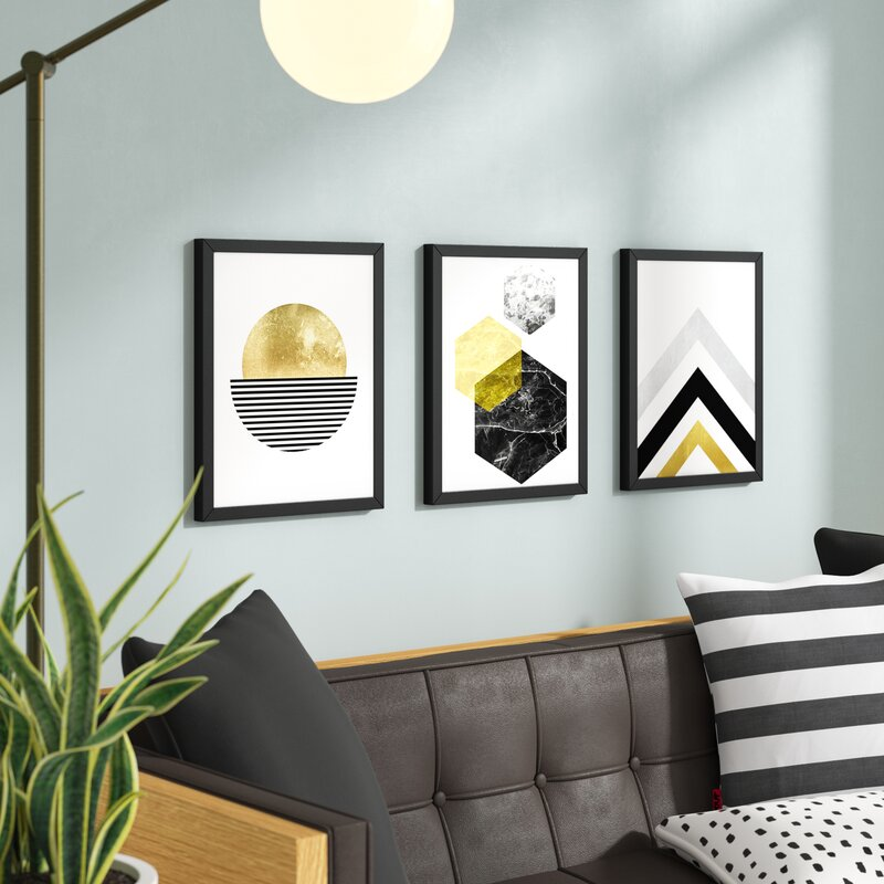 'Geometric' 3 Piece Graphic Art Print