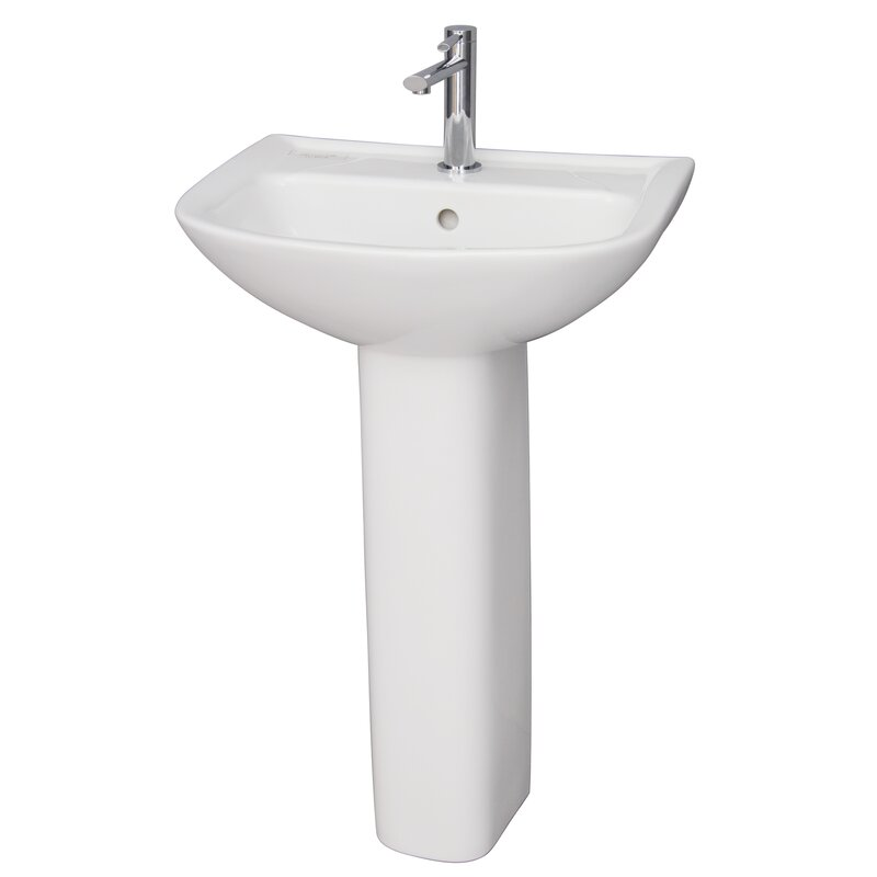 "Lara Vitreous China 20"" Pedestal Bathroom Sink with Overflow"