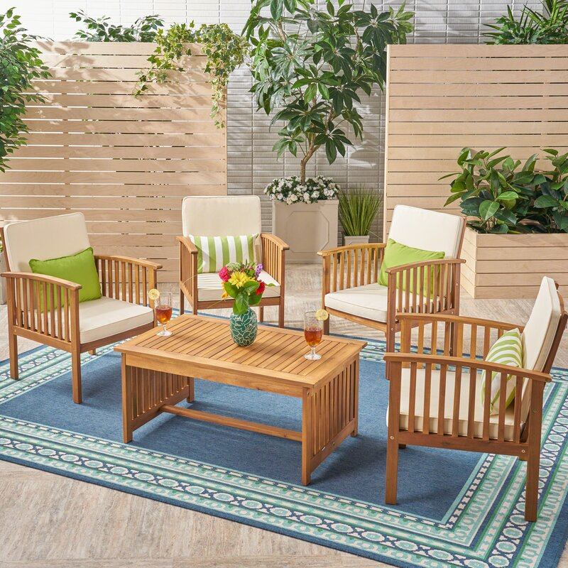 Bangor Outdoor 5 Piece Conversation Set with Cushions
