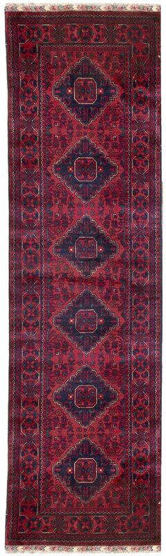 "One-of-a-Kind Afghan Handwoven 2'8"" x 9'8"" Wool Red Area Rug"