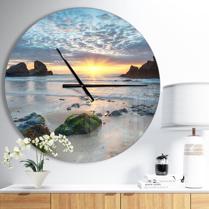 Designart Beautiful Porthcothan Bay Coastal Wall Clock