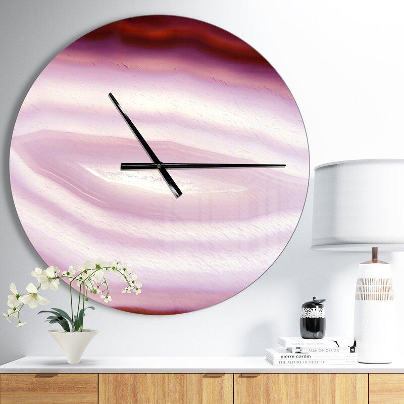 Designart Chalcedony Geological Crystal Modern Wall Clock
