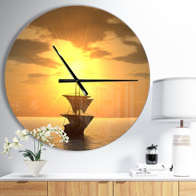 Designart Ship and Sunset Coastal Wall Clock