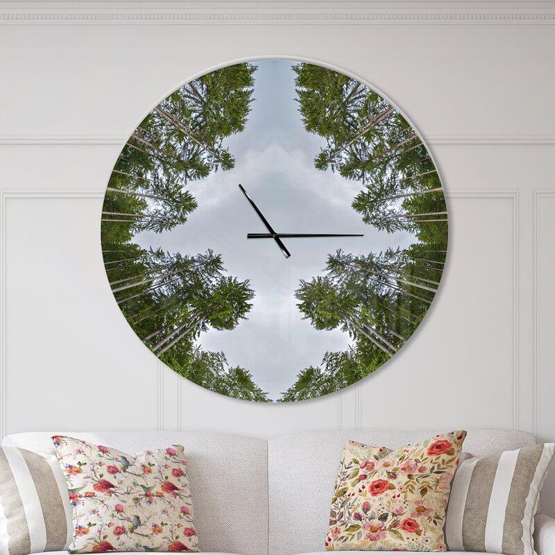 Designart Circle Composition of Coniferous Trees Modern Wall Clock