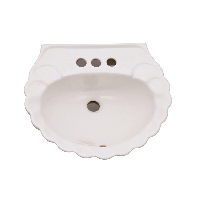 "Bali Vitreous China 19"" Specialty Pedestal Bathroom Sink with Overflow"