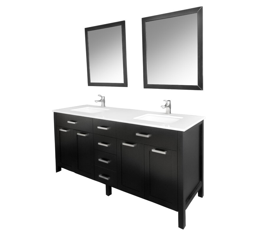 "Drake 60"" Double Bathroom Vanity Set with Mirror"