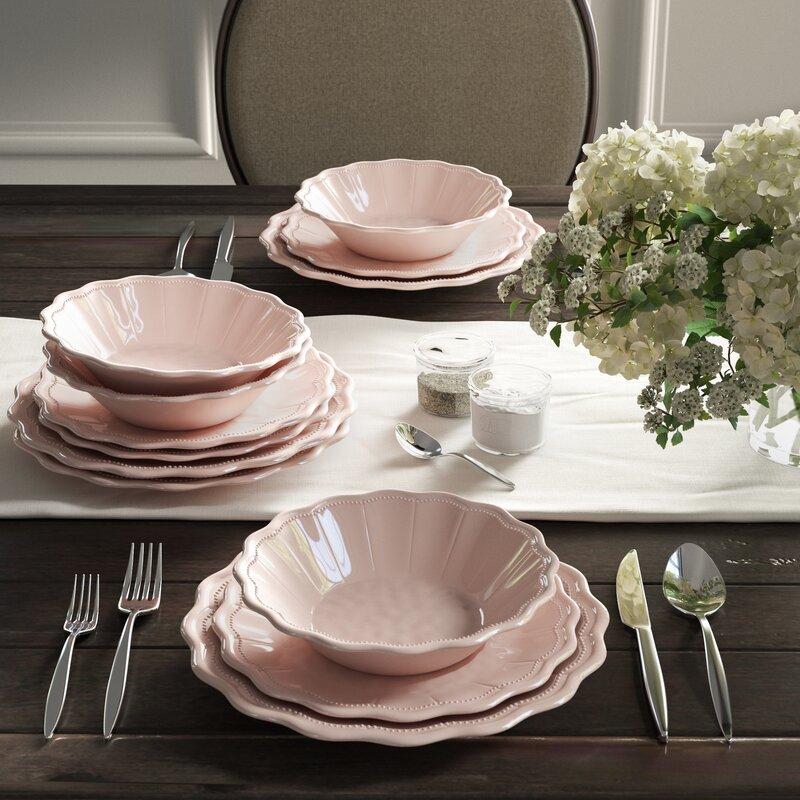 Robstown Pearl Blush 12 Piece Melamine Dinnerware Set, Service for 4