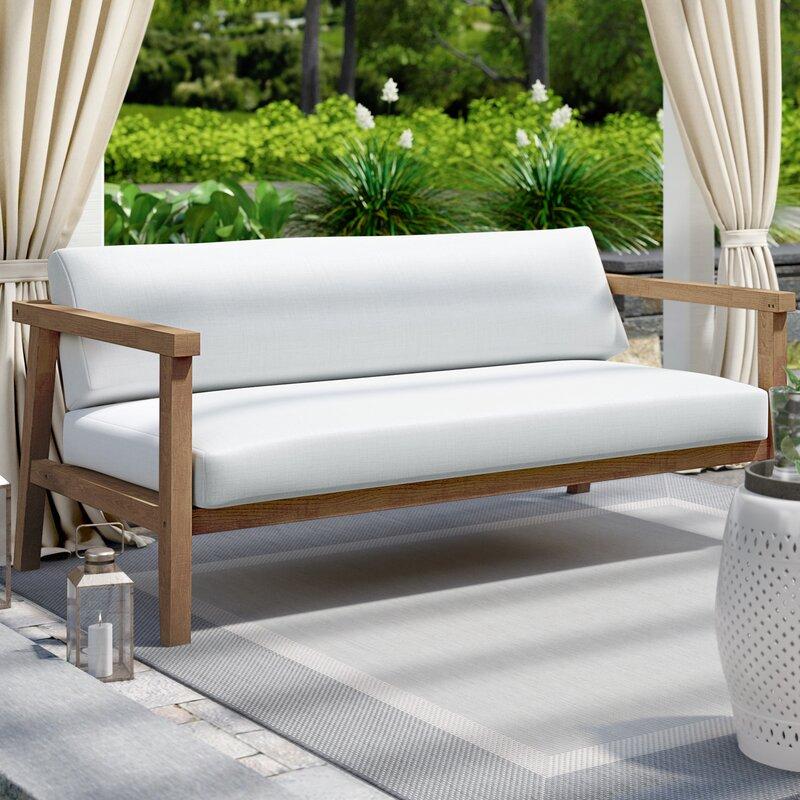 Edmeston Outdoor Teak Loveseat with Cushions