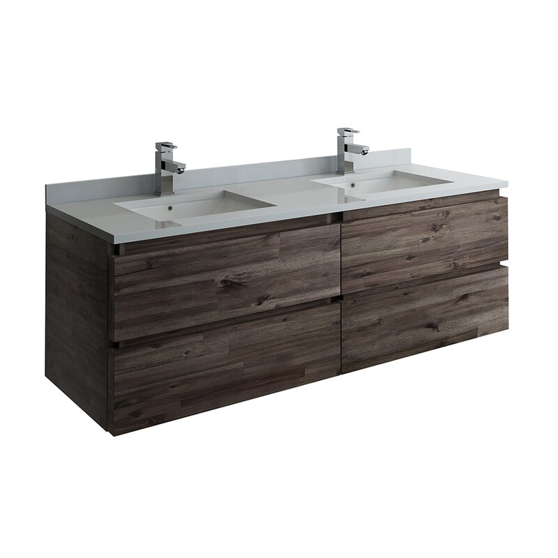 "Formosa Wall Hung 58"" Double Bathroom Vanity Base Only"
