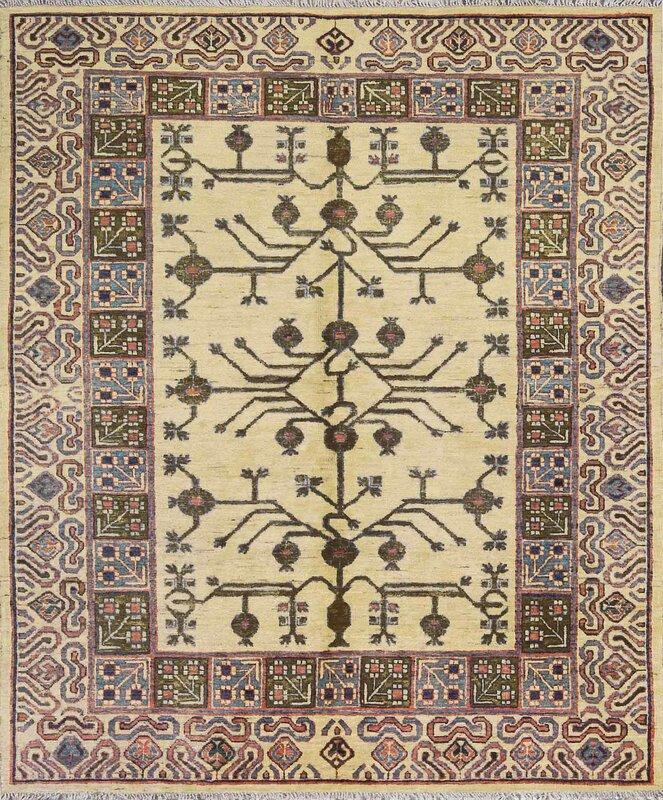 "One-of-a-Kind Turkestan Handwoven 5'8"" x 6'7"" Wool Ivory/Purple Area Rug"