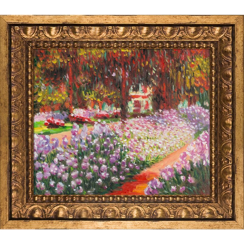 'Artist's Garden at Giverny' by Claude Monet Framed Oil Painting Print on Canvas