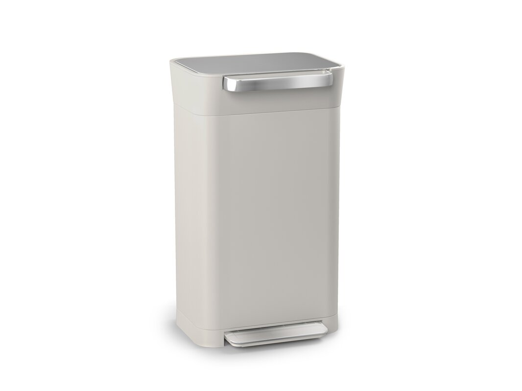Intelligent Waste Titan Compactor Stainless Steel 8 Gallon Step On Trash Can