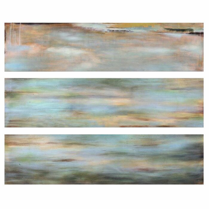 'Horizon View' 3 Piece Painting Print Set on Wood