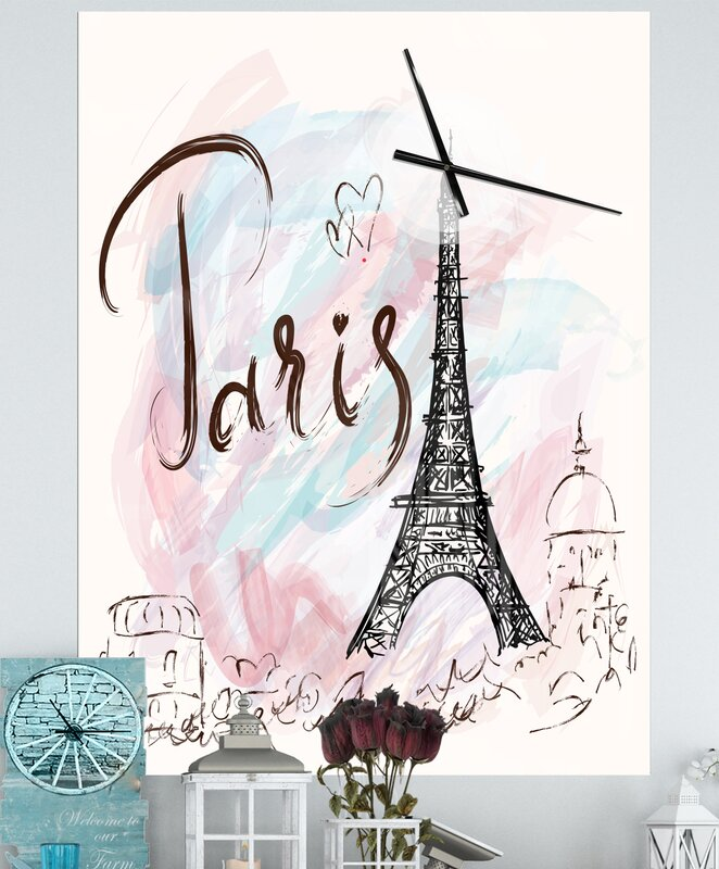 Oversized Designart Illustration with Eiffel Tower French Country Wall Clock