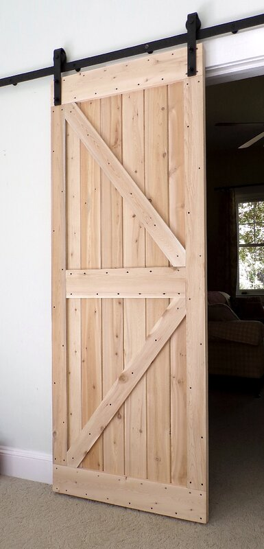 Paneled Wood Finish Barn Door without Installation Hardware Kit