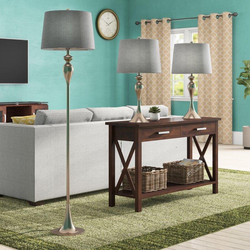 Braddock 3 Piece Table and Floor Lamp Set