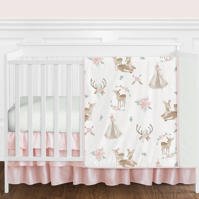 Deer Floral 4 Piece Crib Bedding Set