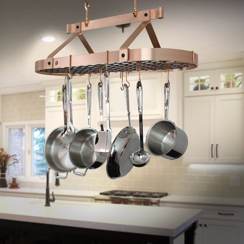Handcrafted Oval Ceiling Hanging Pot Rack